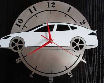 Wall clock Tesla Model S electric car stainless steel wall decoration artistical strasburger Design Wall Watch