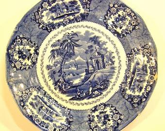 Vintage Flow Blue Ridgeway Staffordshire England Plate c1879-1920