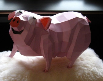 DIY Kit, Pig, Paper Cutting Template, Pink