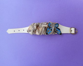 Bracelet, silver bracelet, white and filleted applications, butterfly
