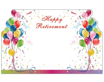 "50 Balloons ""Happy Retirement"" Print Florist Blank Enclosure Cards Small Tags Crafts (Free Shipping!)"