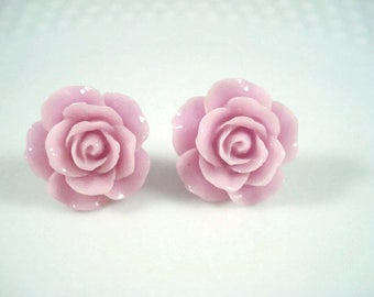 Purple Rose Earrings Flower Posts Rose Jewelry Rose Post Earrings