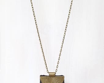 LEATHER + BRASS SHIELD || reclaimed leather shield pendant necklace