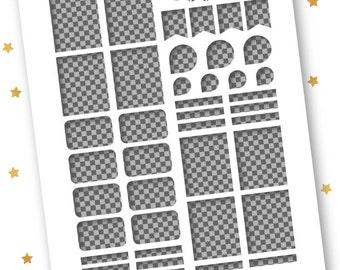 ECLP Transparent Assorted Template // Transparent .PNG // Vertical Erin Condren Life Planner Stickers