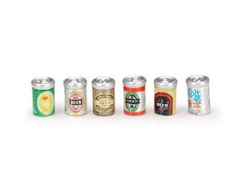Miniature Beer Cans assortment, Set of 6, dollhouse miniatures, fairy gnome garden supply, tiny beer cans, mini garden accessories, craft