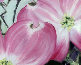 Limited Edition Fine Art Print (Giclee) of Original Oil Painting by L Donaghey - Pink Flower - Pink Dogwood Blossom - of a Dogwood Flower