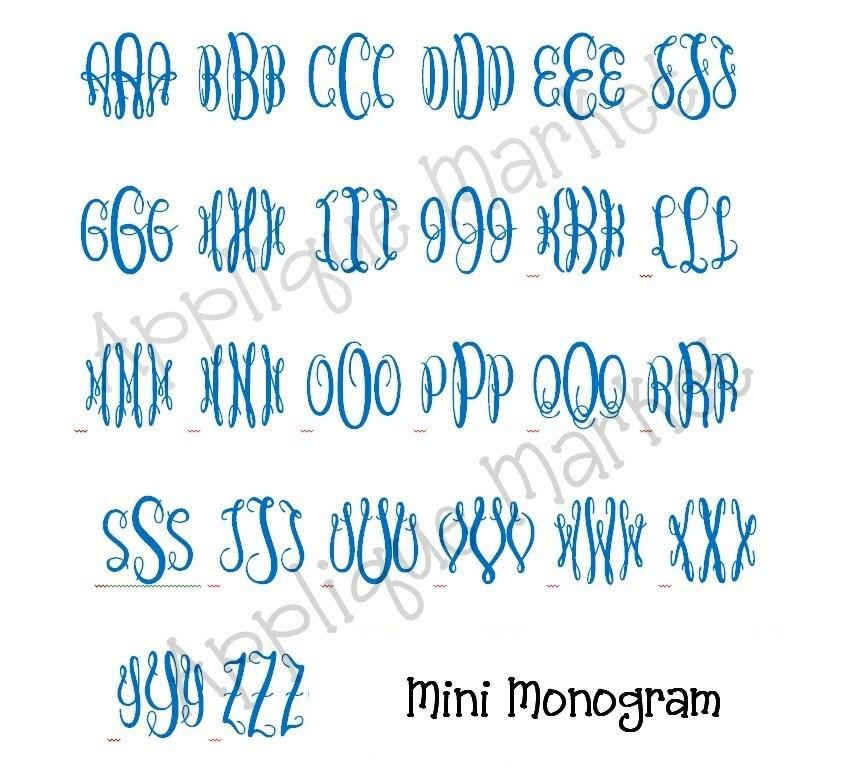 machine embroidery design alphabet font graceful monogram mini