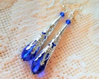 Blue earrings Silver earrings Victorian earrings Dangle earrings Drop earrings Edwardian earrings Vintage style earrings Valentine day gift