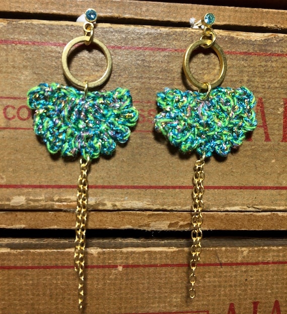 Earrings Moon and turquoise crochet ring