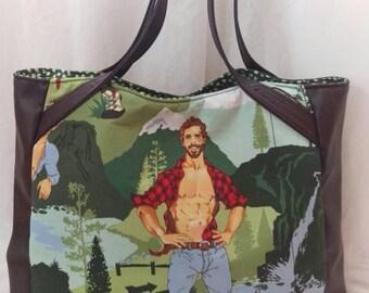 Lumberjack Hunk Tote Bag