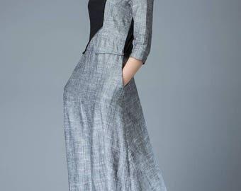 Linen Dress, black dress, gray dress, maxi dress, long dress, womens dresses, dress, vintage dress, designer dress, black linen dress  C805