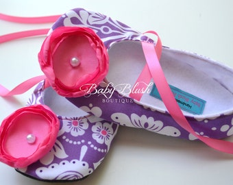Lilac Hot Pink Soft Ballerina Slippers Baby Booties Baby Shoes