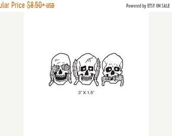 May Sale Skulls See No Evil - Hear No Evil - Speak No Evil Bones Rubber Stamp 423