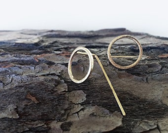 Minimalist Circle Earring, 18k Gold Plated Circle Earrings, Gold Circle Earrings, Modern Geometric Circle Earrings