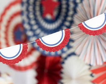 American Flag Patriotic Bunting | 4th of July Party Patriotic Party Decor Red White Blue Summer Memorial Day BBQ Labor Day USA Flag Bunting