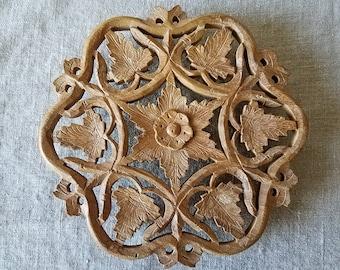 Vintage hand carved wood trivet, Indian rosewood, Sheesham wood, carved trivet, boho decor