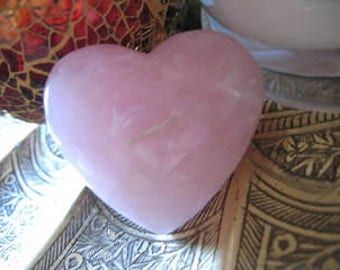 ROSE QUARTZ A grade Solid Pink HEART Crystal to bring Love into your Life