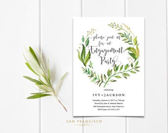 Engagement Party Invitation INSTANT DOWNLOAD | Editable Engagement Party Invite Template | leaves, greenery | Ivy Collection | Printable PDF