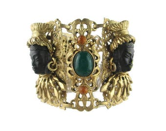 SELRO Asian Princess Bracelet/ Selini Black Asian Princess/  Orange Stones  Green Lucite Cabochons / WIDE Filigree Panel Gold Tone Bracelet/