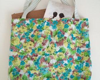 Handmade Fabric Lined Shopper bag / Tote / Bookbag . Vintage Material