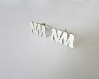 Custom cufflinks, initial cuff links, sterling silver, groom gift, groomsmen gift, handmade, wedding, cufflinks, engraved cufflinks