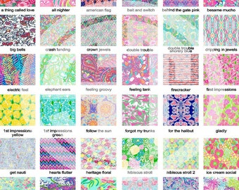 Lilly Pulitzer printed indoor, outdoor, glitter and metallic VINYL and heat transfer vinyl HTV and applique FABRIC