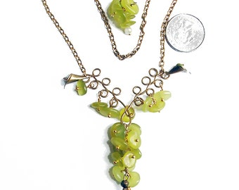 """Green Jade Necklace, """"Grapes on the Vine""""  - Wire Wrap Jade Pendant - Matching Earrings- Beautiful One of A Kind Design"""