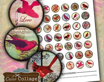 Red Bird, Collage Sheet, Bottlecap Images, Cardinal Images, 1 Inch Circle Images, Inspirational Images, Vintage Image Sheet