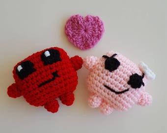 READY TO SHIP - Mini Crocheted Meat Boy & Bandage Girl Set