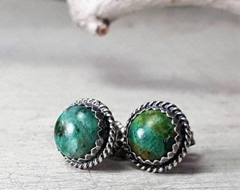 Chrysocolla stud Earrings Sterling Silver Posts Earrings 8mm stone
