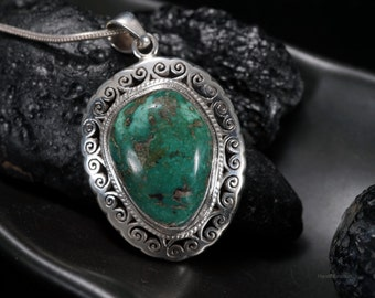 Natural Tibetan Green Turquoise Sterling silver pendant necklace filigree jewelry December birthstone for men & women Unique Free-form