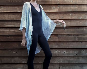 Black or WhiteLoose Knit Sheer Leather Accented Beach Cover Up/Kimono
