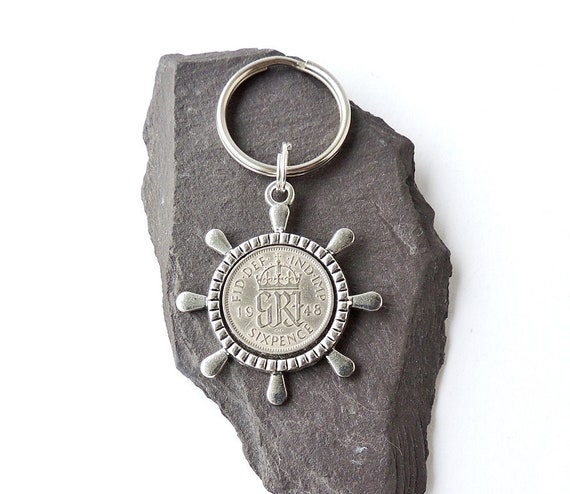 1948 Sixpence Keyring for Sailor