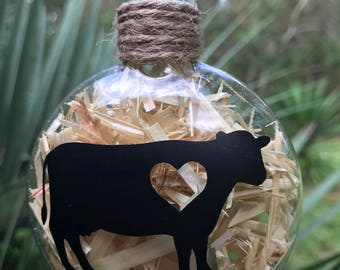 Cow love glass Christmas ornament