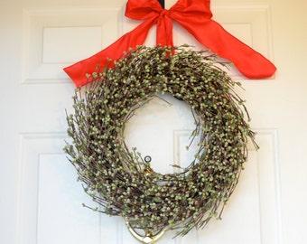 Green Raspberry Wreath - Christmas Wreath - Holiday front Door decor - Sage green raspberries - silver glitter