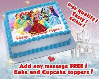 Princess Birthday Cake Topper, Edible Print. Sugar Sheet Decoration Party  Supplies.