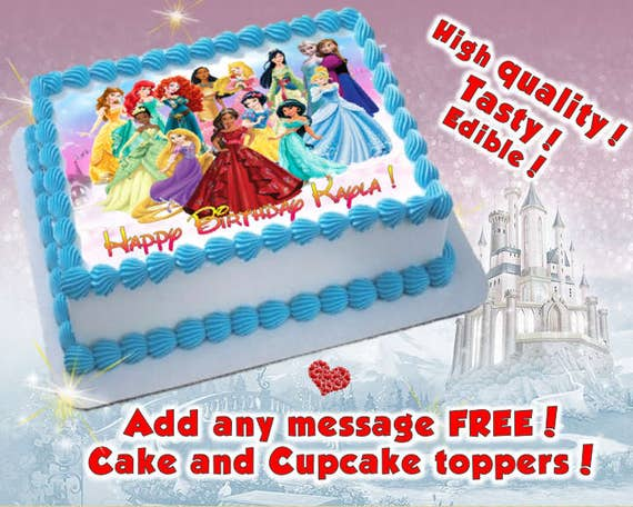 Princess birthday cake topper edible print Sugar sheet decoration