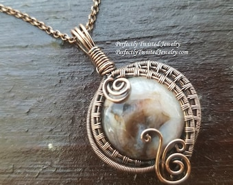 Wire Weaved Copper and Jasper Pendant, Handmade Wire Wrapped Jewelry by Perfectly Twisted Jewelry, Wire Weaved Fantasy Pendant Necklace