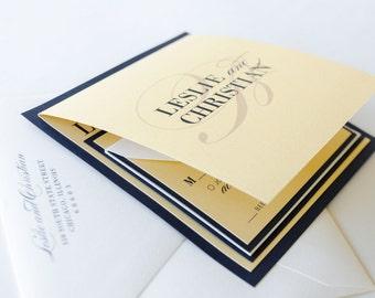 Gold Shimmer, Navy Blue Square Wedding Invitation and RSVP Card Suite - Navy, Gold, Ivory Wedding - The Gossamer Suite