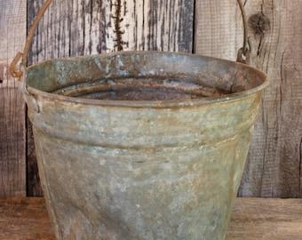 Rustic Metal Bucket Pail Shabby umbrella holder vintage antique farm flowers planter pail Home Decor Garden Farmhouse Chic Gifts for Home