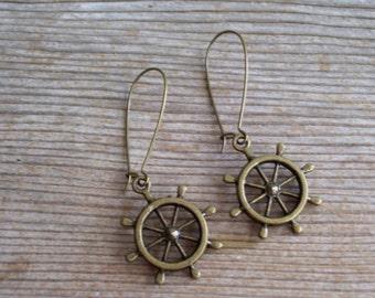 Nautical Earrings, Ship Wheel Earrings, Sailor Earrings, Antiqued Brass Ship Wheel Earrings, Nautical Jewelry