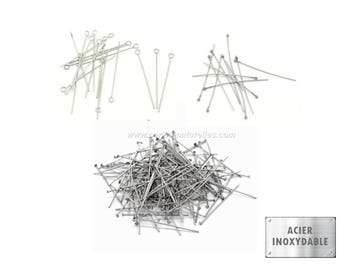 Stainless steel - HeadPins and EyePins - 10 or 100 Stainless Steel Pins