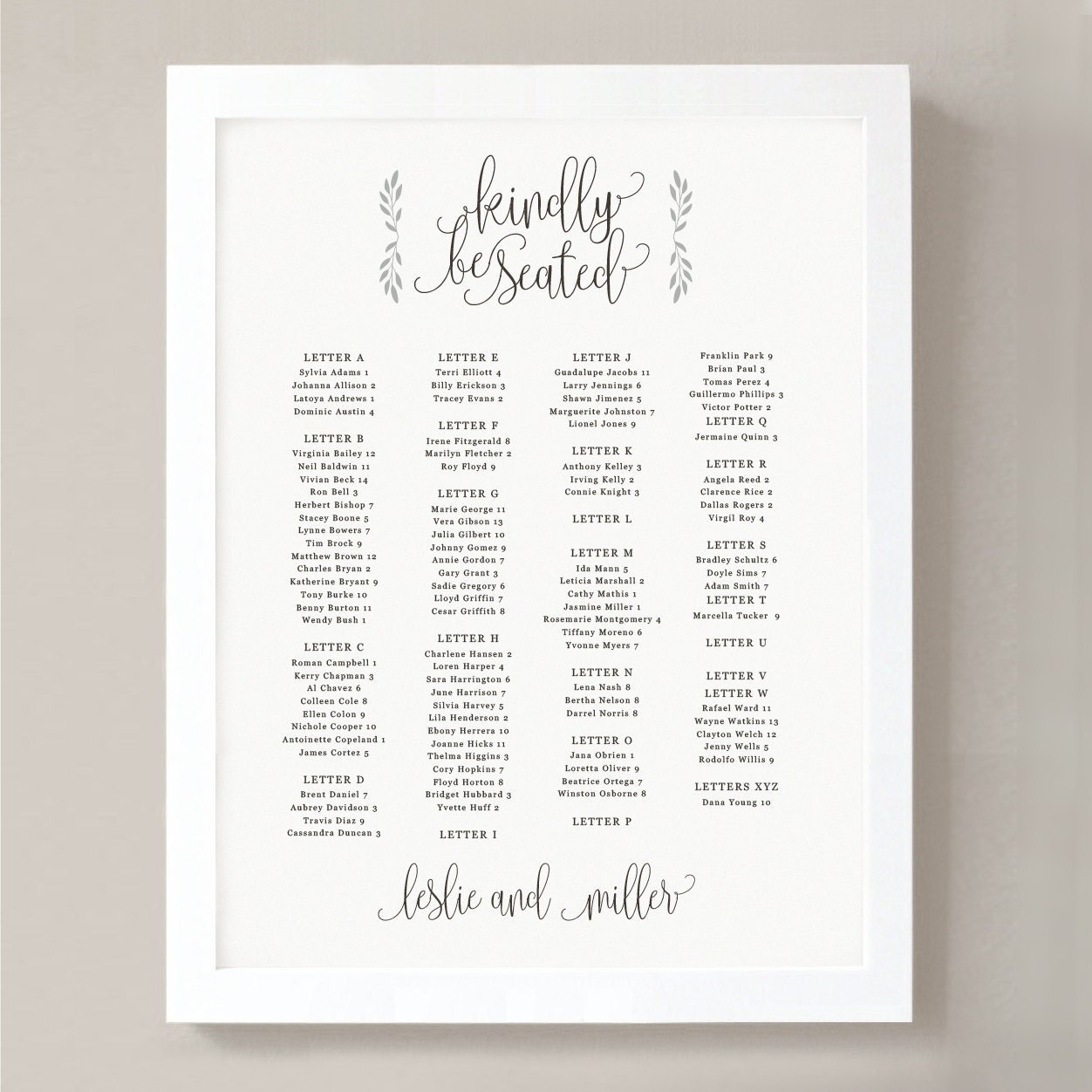 Printable Seating Chart Poster Template Rustic Calligraphy Word - Seating chart template word