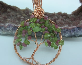 Tree of Life Pendant - copper wire with pink tourmaline and peridot chip beads