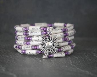 Under the Tuscan Sun, Under the Tuscan Sun gift, Frances Mayes, purple bracelet, recycled book bracelet, book lover gift, sun charm bracelet