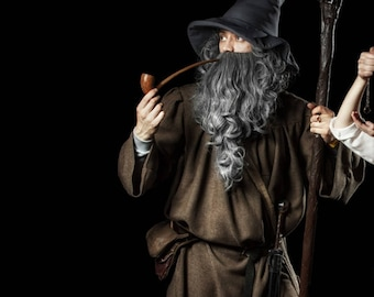 Gandalf the Grey Cosplay Costume The Lord of the Rings, The Hobbit, Wizard Robes, LARP Replica Movie Christmas Men Adult Halloween Costume