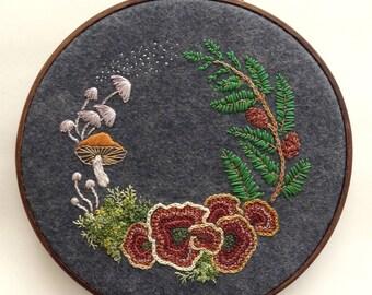 Forest mushroom wreath embroidery hoop wall art
