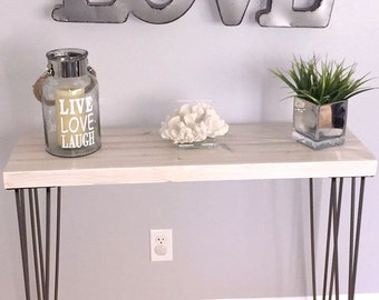 White Modern Rustic Console Table, Entry Table, Sofa Table, Industrial Table