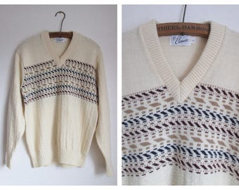Elmar Vintage Mens Cream V-Neck Pullover Sweater Size Large Made in USA