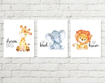 Boys Safari Nursery Print, Giraffe Dream Big, Blue Elephant Be Kind, Lion Be Brave Baby Shower Gift Printable Wall Art 5x7, 8x10 Download